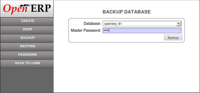 OpenERP database backup