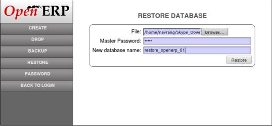 OpenERP database restore