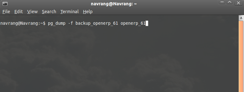 OpenERP database backup from command prompt