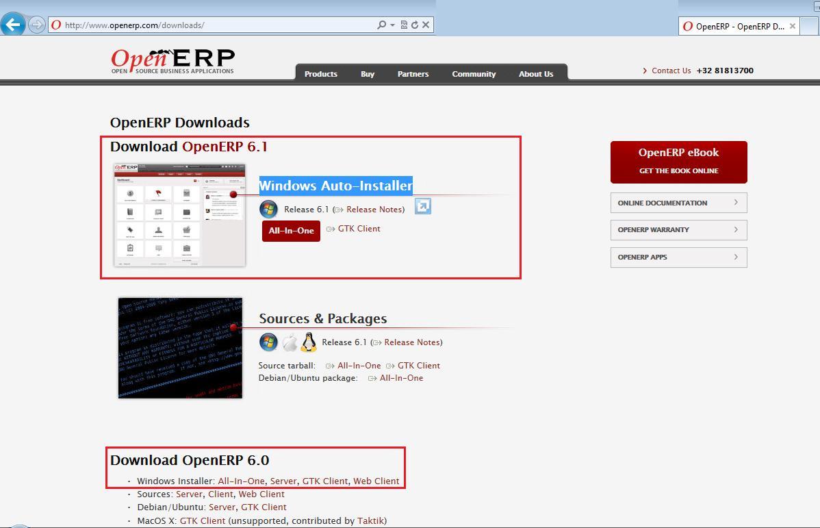Download Windows Auto-Installer of OpenERP