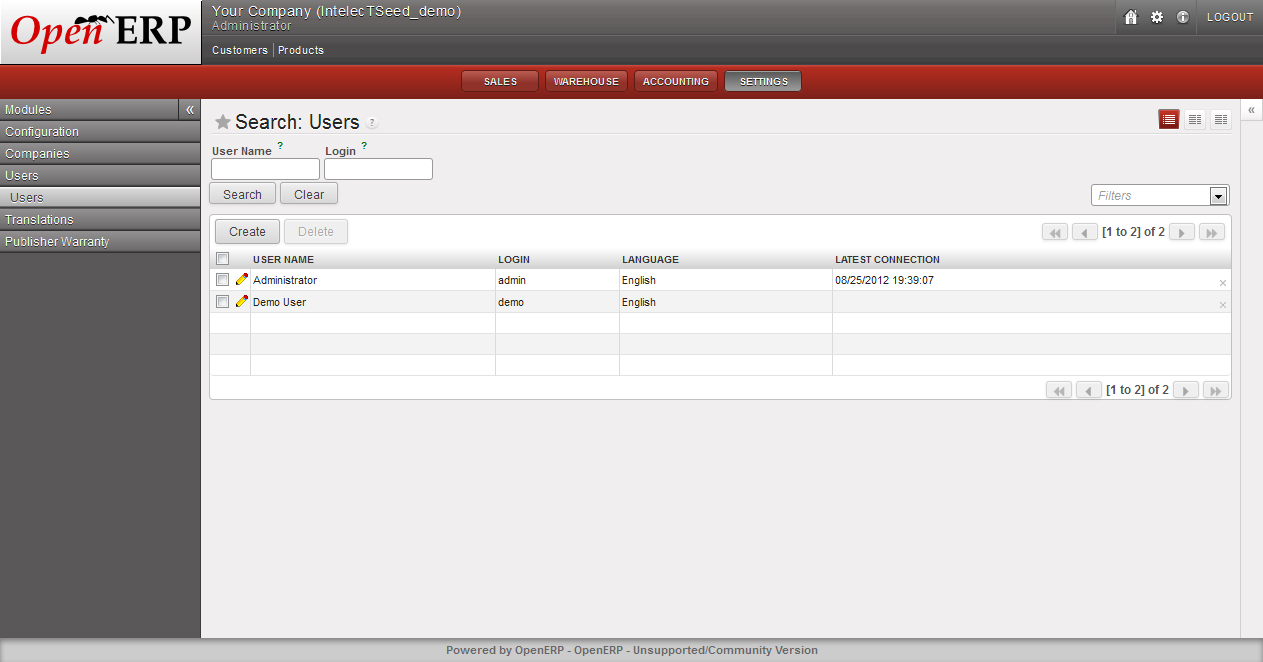 Users - OpenERP Web Client