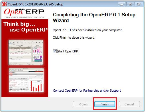 OpenERP installtion Completed