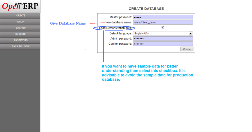 Create Database in OpenERP Web Client