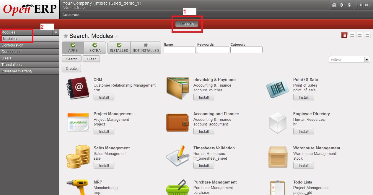 Modules - OpenERP Web Client