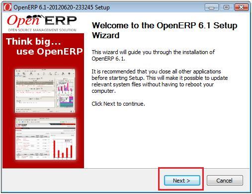 OpenERP Installation Wizard