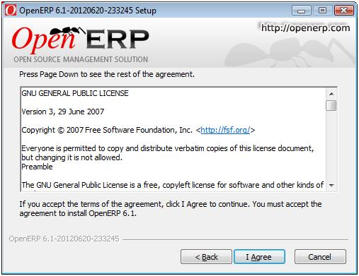Accept GNU General Public License to install OpenERP