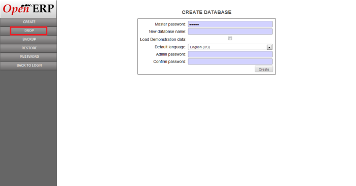 Drop Database in OpenERP Web Client