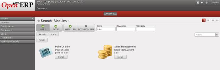 Sale Module - OpenERP Web Client