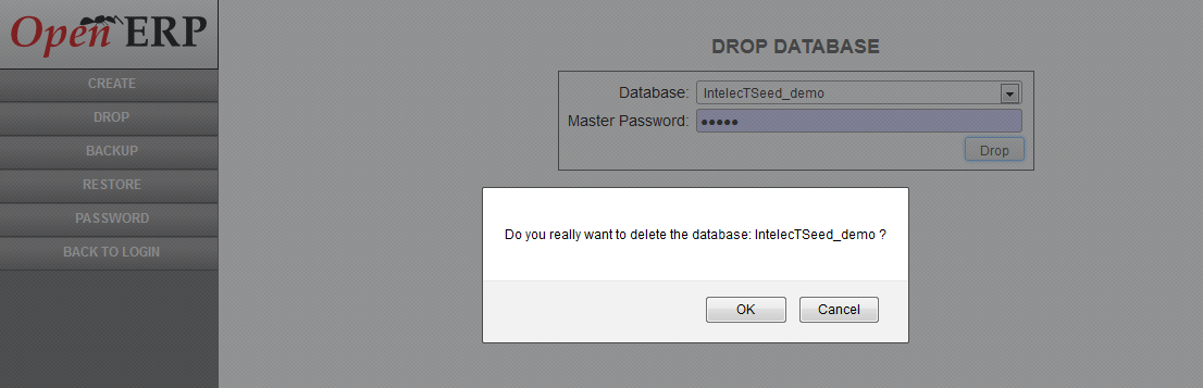 Drop Database confirmation in OpenERP Web Client