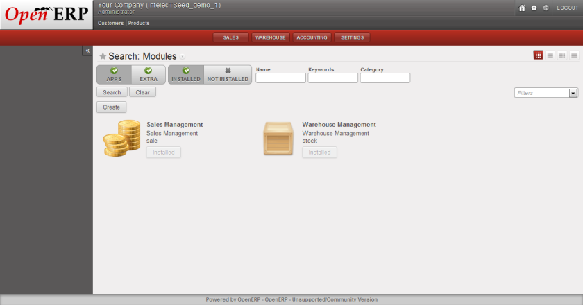 Sale Module Installed - OpenERP Web Client