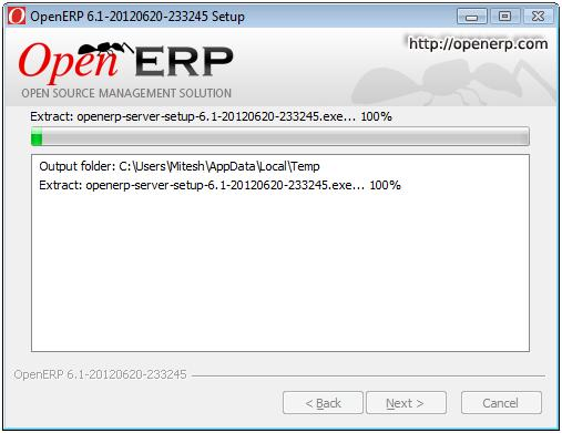 OpenERP installtion in progress