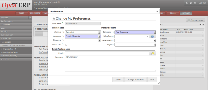 OpenERP Preferences