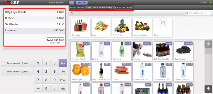 Sales order button on POS