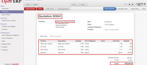 OpenERP Sales Order