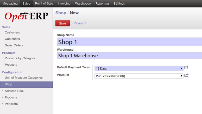 Configure Shop