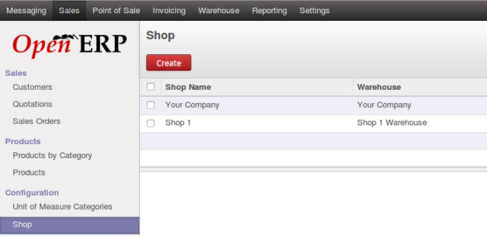 OpenERP Shop list