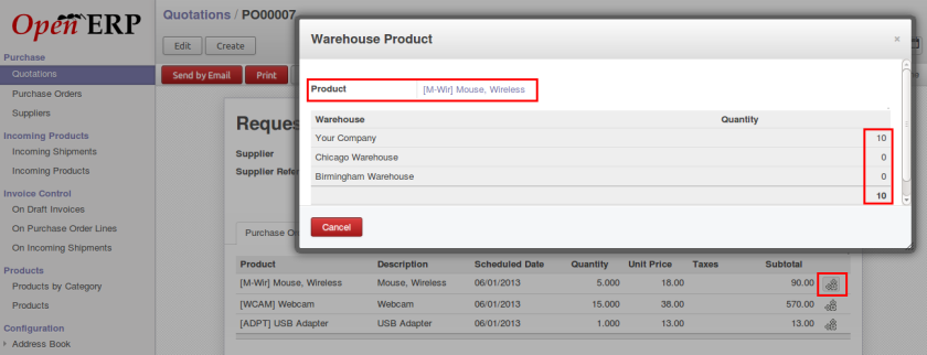 OpenERP product quantity in purchase
