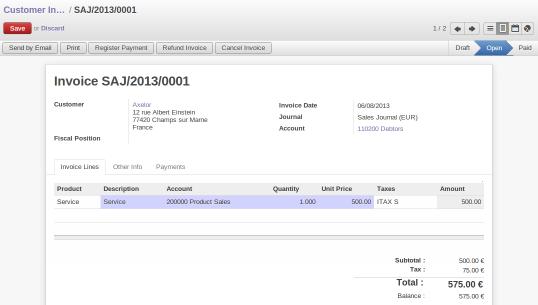 OpenERP Invoice