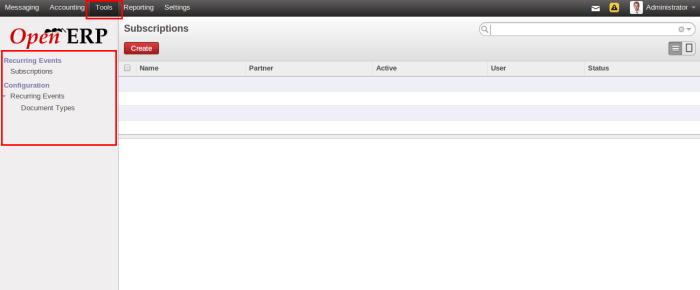 OpenERP Subscription menu