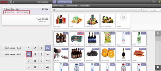 OpenERP Point of Sale : Pricelist applied