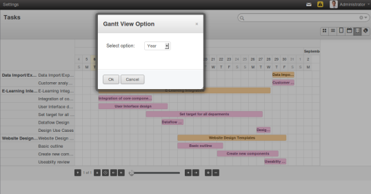 OpenERP Gantt Chart View Options