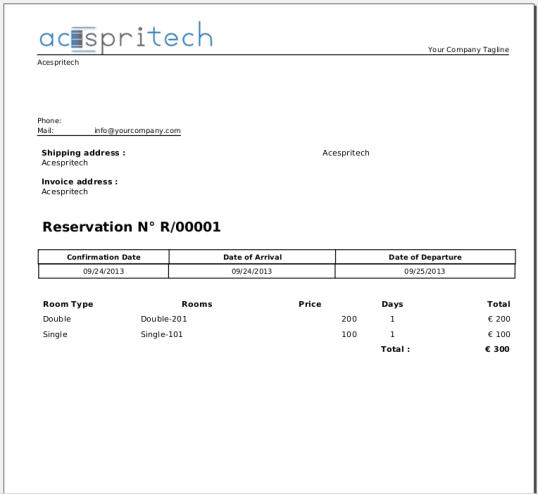 OpenERP Hotel Reservation Report
