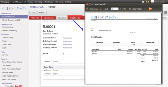 OpenERP Hotel Reservation Invoice