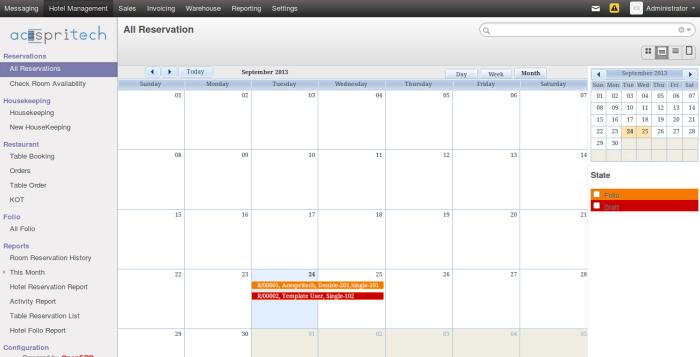 OpenERP Hotel View - Calendar