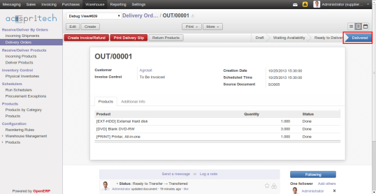 OpenERP Delivery Order