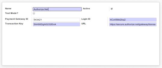 Authorize.net Configuration