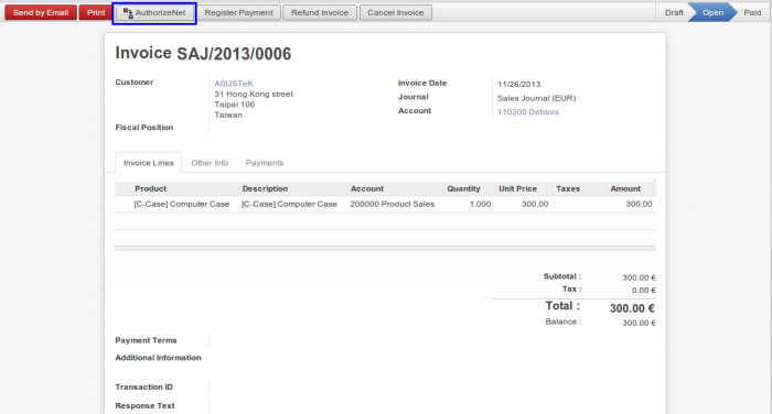 OpenERP Customer Invoice