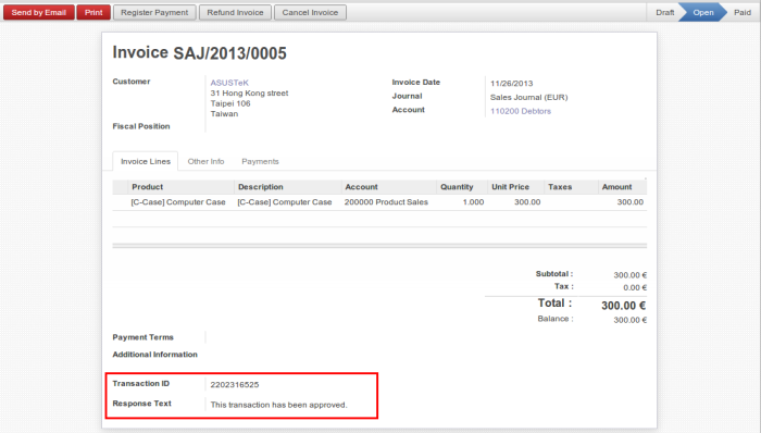 OpenERP Customer Invoice Proceed