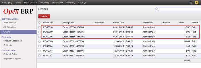 OpenERP POS Order List