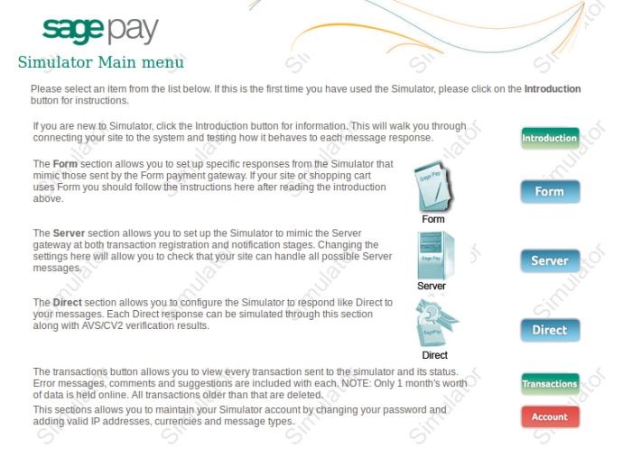 SagePay Home PAge