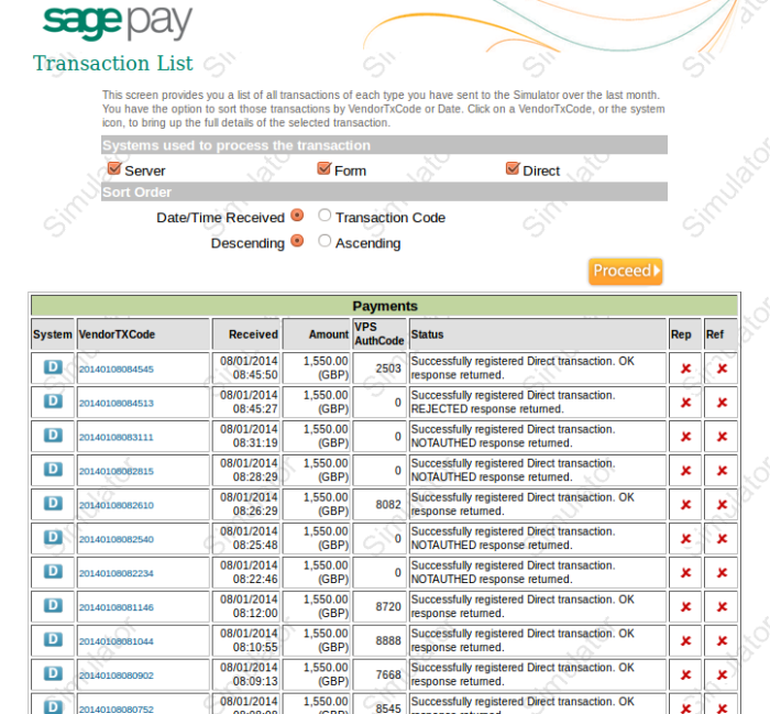 SagePay Website Transaction