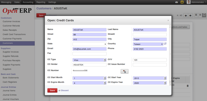 Credit Card Configuration