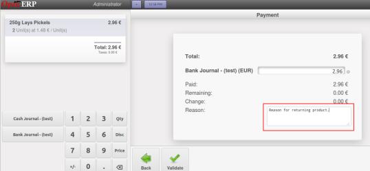 OpenERP POS Return Payment Screen
