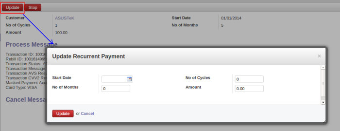 Update Recurrent Payment