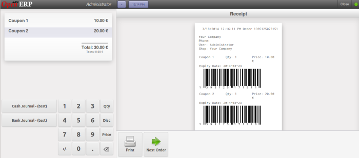 Barcode on Receipt for coupons