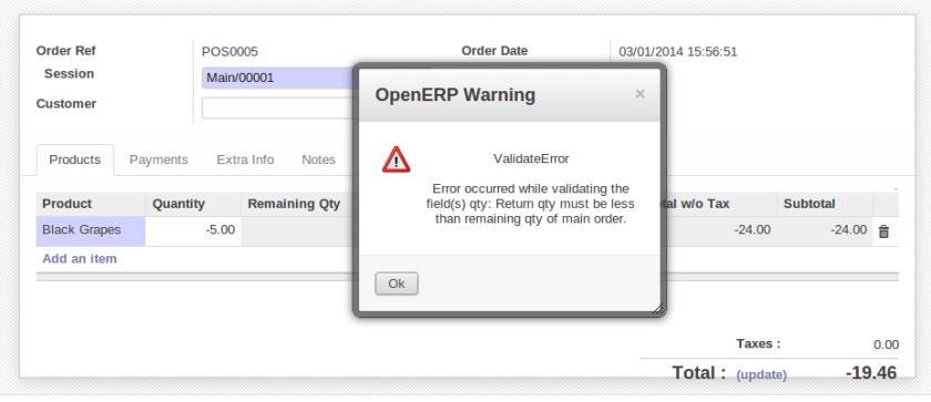 Change qty error from return order