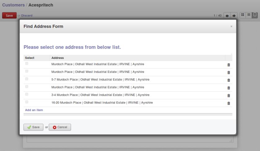 CraftyClicks Address List