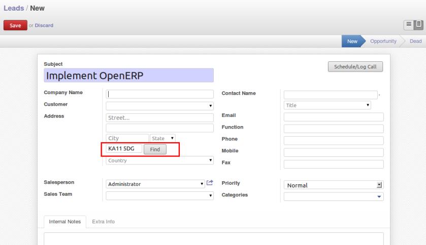 OpenERP Lead Form