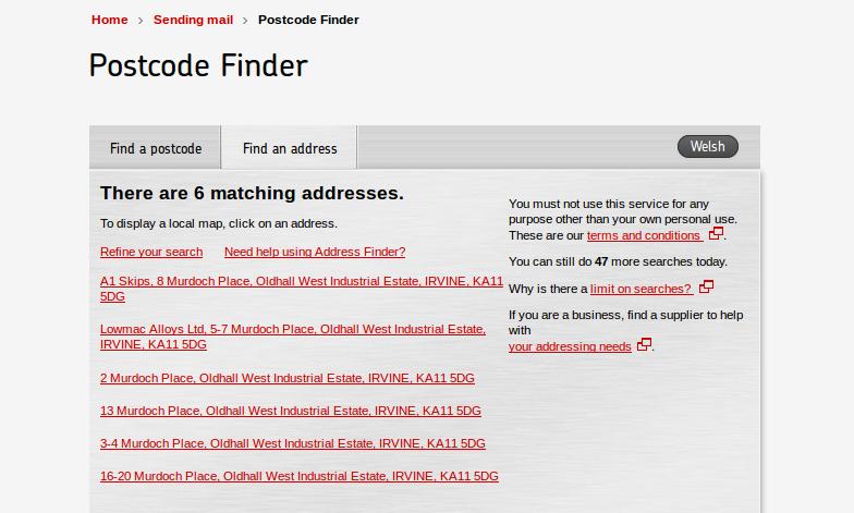Website address list from royalmail.com