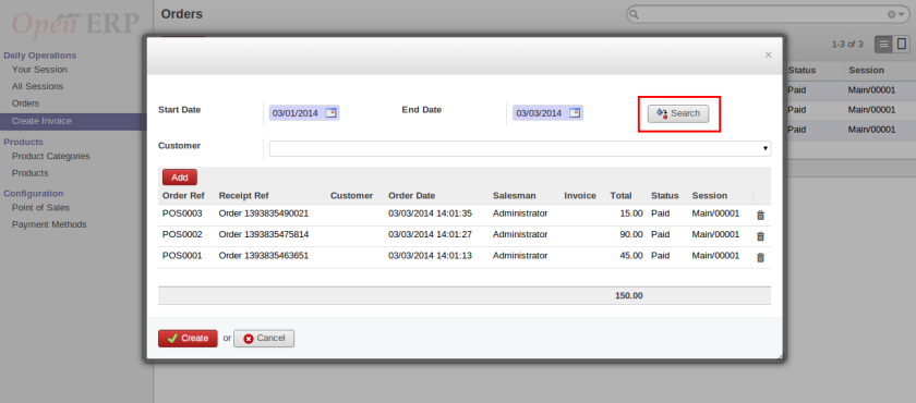 Search POS Orders