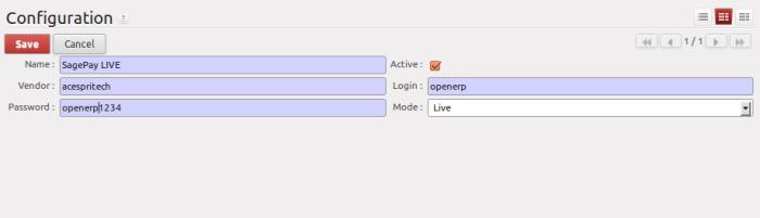 SagePAy Configuration