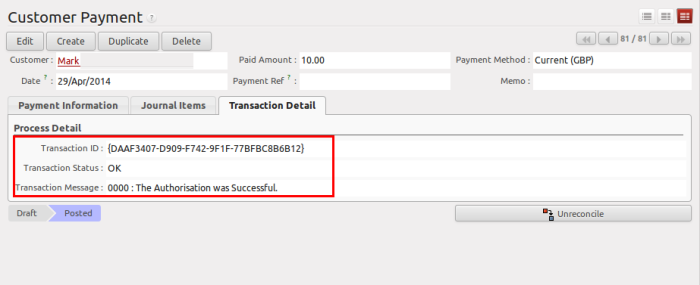 SagePay Transaction Success