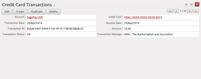 SagePay Transaction History