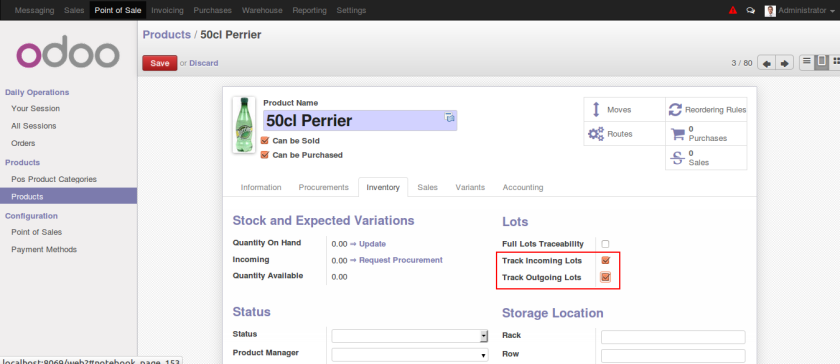 Odoo Product Configuration for Serial Tracking