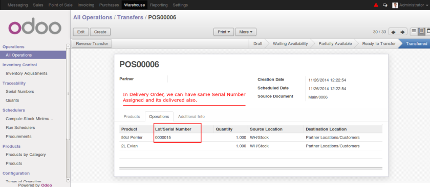 Delivery Order with serial number