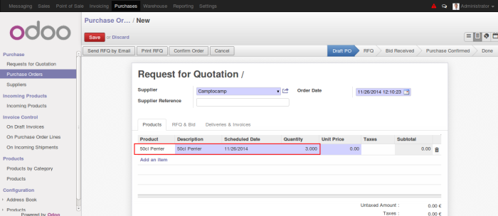 Odoo Purchase Order